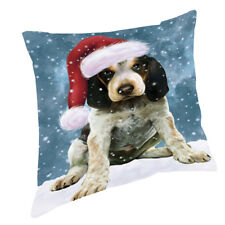Let it Snow Bluetick Coonhound Dog Wearing Santa Hat Throw Pillow 14x14