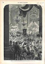 CLOTURE Neuvaine de sainte Geneviève PANTHEON PARIS ANTIQUE PRINT GRAVURE 1874