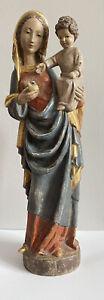 Große Heilige Madonna Maria mit Jesus Kind Holzfigur Handgeschnitzt 50cm