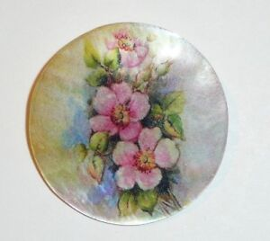 """Pretty Cherry Blossoms Flowers Button - Mother of Pearl MOP Shank Button 1+3/8"""""""