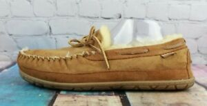 LL BEAN Mens Brown Suede Shearling Lined Wicked Good Moccasin Slippers Size 11 M