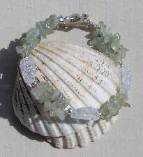 "Green Prehnite & Crackled Clear Quartz Crystal Gemstone Bracelet ""Apple Dew"""