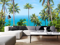 3D Tropical Coconut Palms Tree Living Room Wall Mural Photo Wallpaper Painting