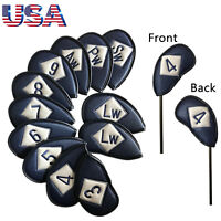 Embroidery Golf Iron Cover Headcover PU Leather 12 Pcs Fits Left Right Handed