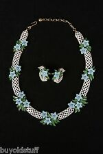 Vintage High End Trifari White Basket Weave Necklace Earrings Blue Flowers RARE