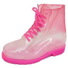 LADIES FLAT PINK CLEAR FESTIVAL JELLY WELLIES LACE-UP RAIN ANKLE BOOTS SHOES 4-8