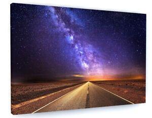 Milky Way Night Sky Stars Canvas Picture Print Wall Art C447