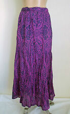 Marisota Size 18 Purple Blue Elastic Waist Cotton Crush Look Maxi Skirt BNWT