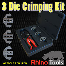 3 Die Quick Change Cable Crimper Kit  Basic Ratchet Crimping Tool Open Barrel