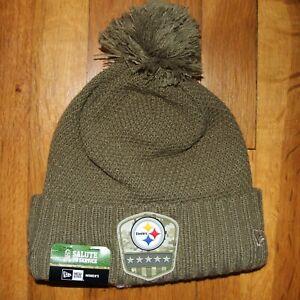New Era Pittsburgh Steelers Salute To Service Womens Pom Pom Beanie Winter Hat