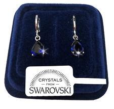 Goccia Orecchini uomo donna pl. oro bianco 18K cristalli swarovski SW7/4 Blu
