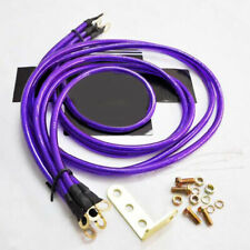 UNIVERSAL 5-POINT CAR BATTERY GROUND EARTH WIRE GROUNDING CABLE SYSTEM PURPLE