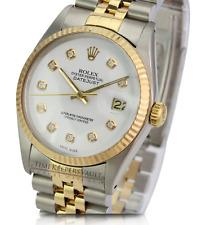 Rolex Mens Datejust 16013 Two-tone 36mm White Diamond Dial 18K Gold Bezel Watch