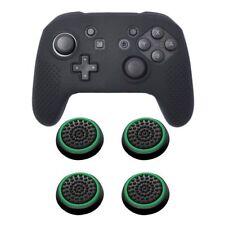 for Nintendo Switch Pro Black Soft Controller Grip Case 4pcs Cap Black/green
