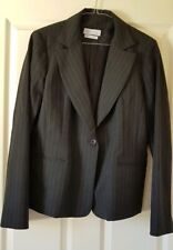Portmans Ladies Blazer Jacket Size 14 Fully Lined Pin Striped Office Wear Grey