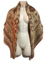 ART TO WEAR Traditional Vintage Floral Ornament Square Scarf Autumnal Brown