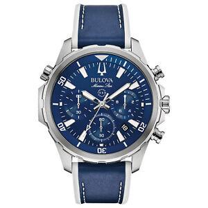 Bulova Marine Star Men's Quartz Chronograph Blue Leather 43mm Watch 96B287