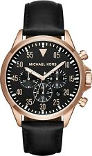 MICHAEL KORS MEN'S GAGE CHRONOGRAPH WATCH ROSE GOLD & BLACK DIAL LEATHER BAND