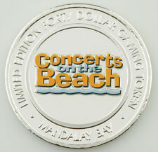 Mandalay Bay Concerts on the Beach Colorized $40 Casino Gaming Token, Silver
