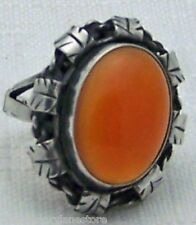 LOVELY ANTIQUE ESTATE CARNELIAN 800 SILVER RING with LEAF/FEATHER DETAIL SIZE 6
