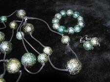Green Plastic Beads on Black Cord Estate Parure Large Metallic Plastic Dark Aqua