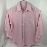 Brooks Brothers Mens Size 16.5-4/5 Button Down Long Sleeve Pink White Striped346
