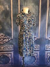 Sy Frankl VNTG 1970s Flower Power Off Center Buttons Shirt Dress LARGE Folded Nk
