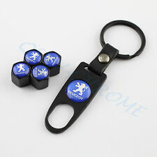 BLACK Wheel Tire Tyre Valve Stem Air Caps Keychain Chrome Styling For Peugeot