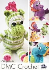 DMC Amigurumi Crochet Booklet -  Safari Animals Lion, Zebra,Giraffe & hippo