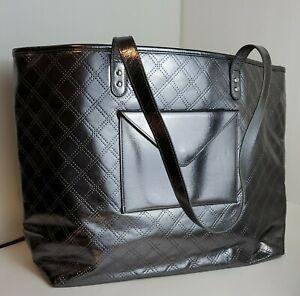 BATH & BODY WORKS Women's Metallic Metalic Silver Shopper Shoulder Bag/Tote -NWT