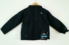 TRESPASS WYLIE JUNIOR WATERPROOF WINDPROOF HOODED JACKET Black 5/6 Yrs  BNWT