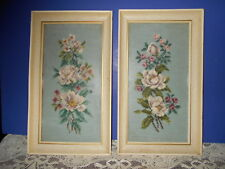 """2 Vintage Framed Needlepoints Wall Picture Floral Roses 16"""" x 9"""""""