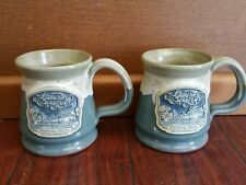 2 DENEEN POTTERY ADMIRAL PEARY HOUSE INN FRYEBURG MAINE COFFEE MUGS MUG CUP