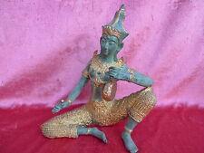 belle, antique Bronze figurine__ Gardien du temple__Moine__theiland__26cm