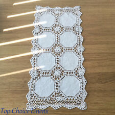 Beautiful Hand Crochet White Lace Cotton Placemat Table Runner 36 x 75cm