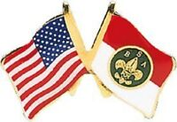 BOY SCOUT BSA USA FLAG HAT CAP JACKET COAT LAPEL PIN JAMBOREE SUMMER CAMP OA NEW