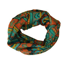 New Teal/Orange Mixed Pattern Light Weiget X-Lgrge Infinity Scarf Loop Cowl