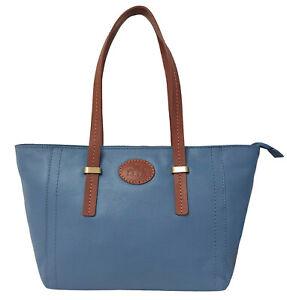 50% Off Rowallan Women's Blue Leather Handbag, Tote Bag