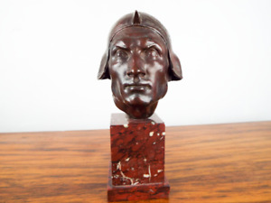 Antique 19th C European Bronze Sculpture Military Head Sallet Red Marble Base