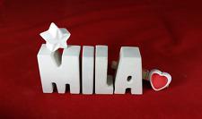 Beton, Steinguss Buchstaben 3D Deko Namen MILA als Geschenk verpackt!