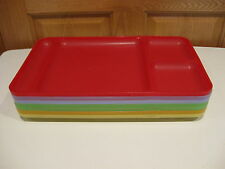 TUPPERWARE 7 multi-colors sheer transparent divided lunch TV dinner picnic trays