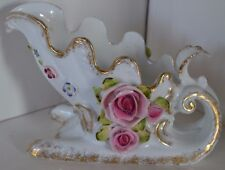 Vintage Lefton Sleigh Sled Rose Flower Gold Trim