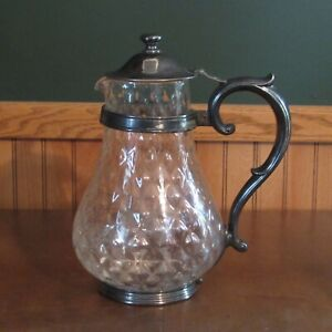 """Antique Reed & Barton silverplate blown glass pitcher marked """"The Dryden"""""""
