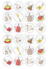 24 té Tetera Oblea / Papel De Arroz Cupcake Topper Comestible Hada Pastel Bollo Toppers