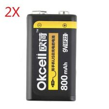2Pcs OKcell USB Rechargeable 9V 800mAh Lipo Battery For RC Helicopter Microphone