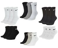 3 PACK NIKE Socks Sports Ankle Logo Socks, Pairs Mens Wome's - Black White Grey