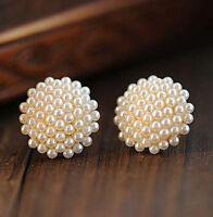 New Fashion Jewelry Women Lady Elegant Pearl Beads Ear Stud Earrings 1 Pair