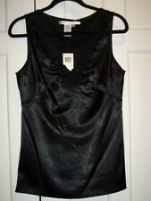 NWT MAX Studio BLACK CHARMEUSE Top Braided Neck Size Small retail $98