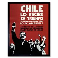 Propaganda Chile Political Salvador Allende Victory Success 12X16 Framed Print