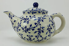 Bunzlauer Keramik Teekanne, Kanne für 1,3Ltr. Tee, Blumen, blau/weiß (C017-LISK)